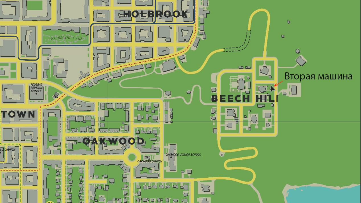 Расположение второй машины Луки на карте