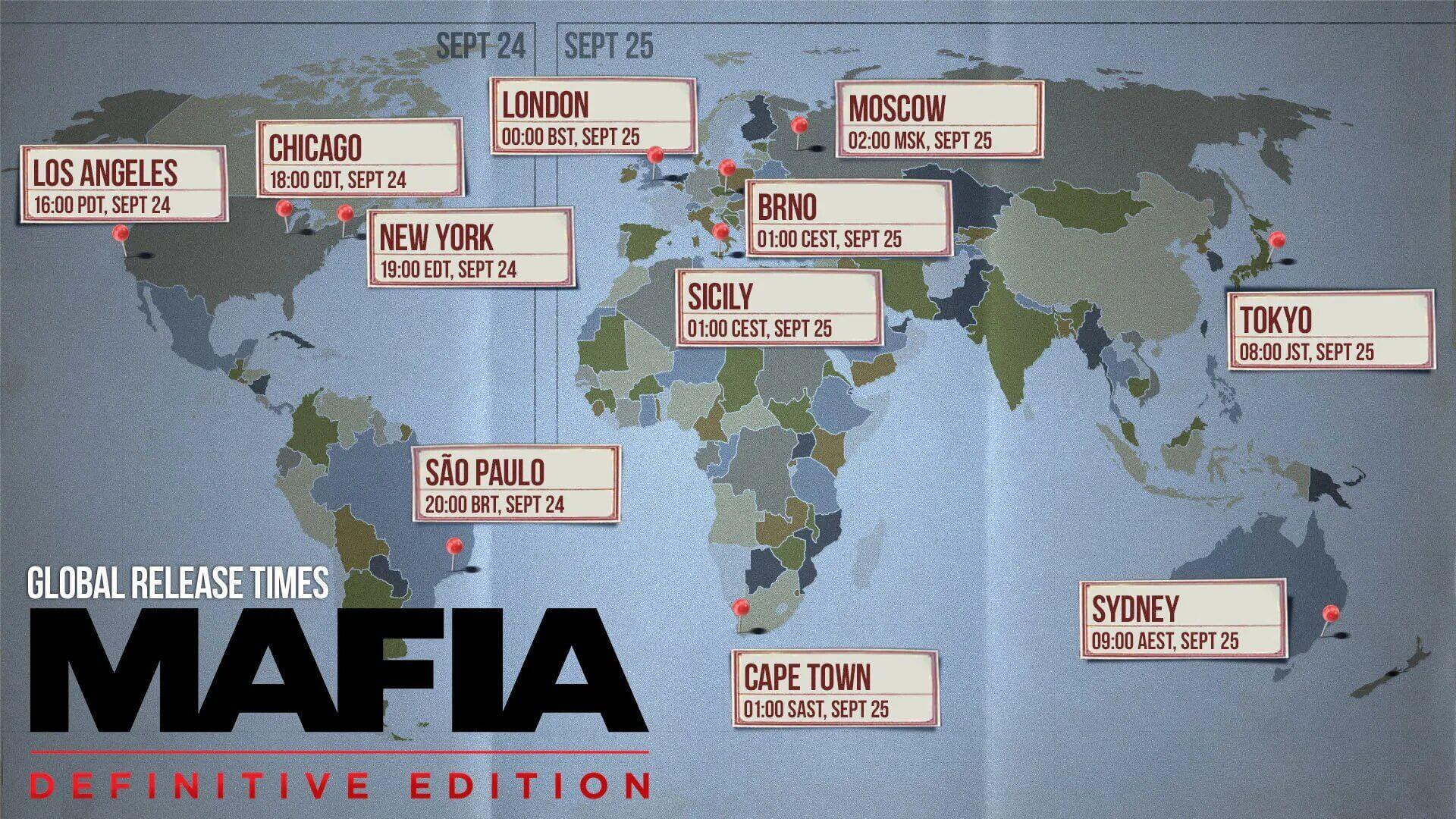 Время выхода Mafia: Definitive Edition